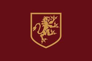 Heraldic Shield Lion Logo