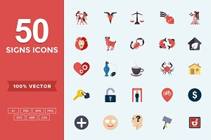 Flat Icons Signs Set