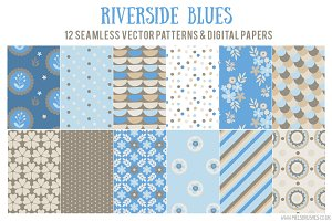 Riverside Blues Vector Patterns