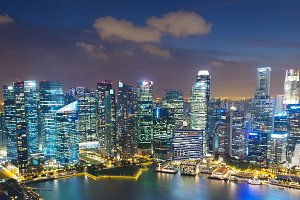Skyline of Singapore Downtown archit