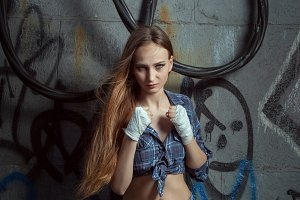 Portrait of a fighter girl.