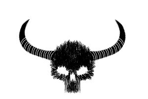 Skull icon line style with horns, t