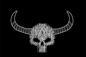 Skull icon with horns, line style