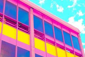 Colorful minimal art. Hotel.  Colorf