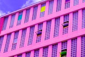 Colorful minimal art. Hotel. Purple