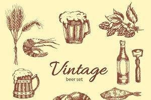 Beer Vintage Monochrome Set