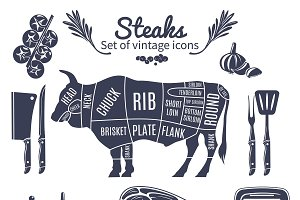 Steaks Vintage Style Icons Set