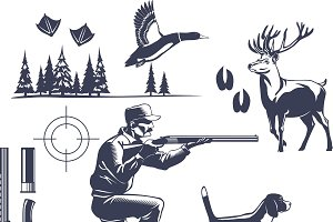 Hunting Vintage Style Icons Set