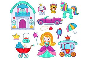 Kids toys vector cartoon girlie