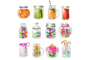 Glass jar vector jam or sweet jelly