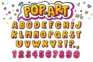 Comic retro letters set.