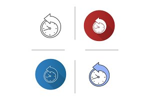 Back arrow around clock icon