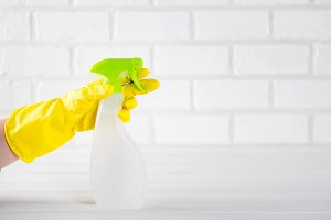 hand holding a house-cleaning spray