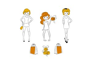 Shopping girls with sale bags