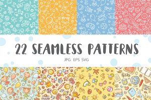 Hand-drawn seamless kids patterns