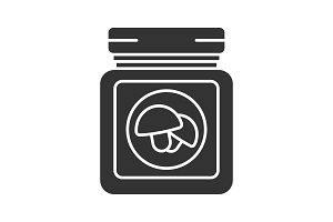 Canned mushrooms glyph icon