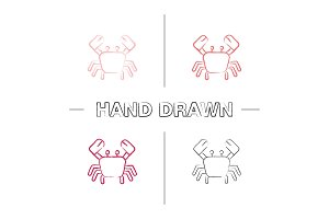 Crab hand drawn icons set