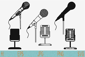 microphone on a stand set vector svg