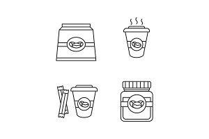 Coffee linear icons set