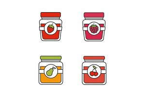 Fruit preserves color icons set