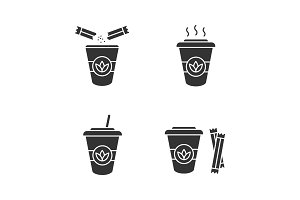 Tea drinks glyph icons set