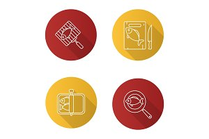 Fish preparation icons set