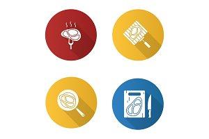 Meat preparation icons set