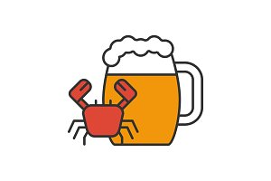 Beer mug with crab color icon