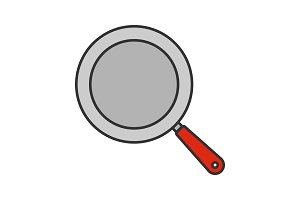 Frying pan color icon