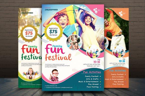 family fun day flyer template flyer templates creative market