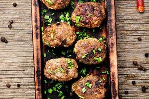 Delicious meatballs in frying pan