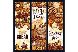 Vector bread banners, bakery shop