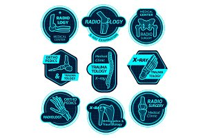 Orthopedics health X-ray icons