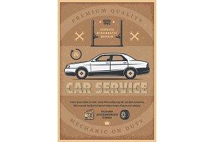 Car mechanic service vector poster