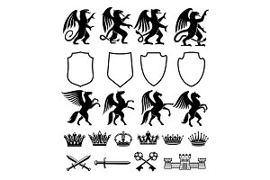 Heraldic royal animals vector icons