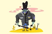 Wild West Sheriff Cartoon Character