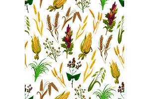 Grains and cereals seamless pattern