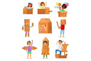 Kids in box vector creative children
