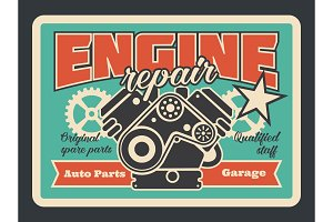 Car engine repair service poster