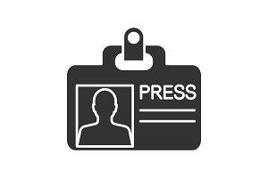 Press ID card glyph icon