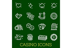 Icons of casino, poker, gambling