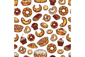Bread and desserts pastry pattern