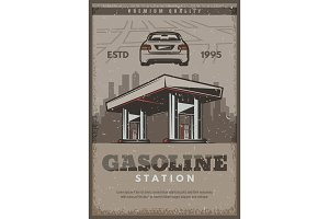 Vector poster of gasoline station