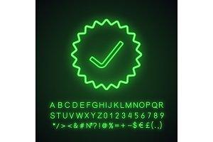 Check mark neon light icon