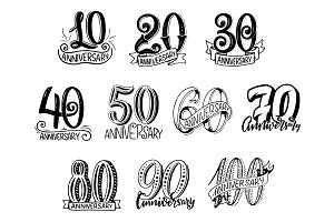 Anniversary year numbers lettering