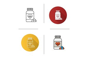 Pills bottle with heart icon