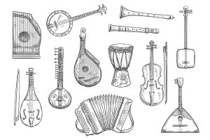 Vector musical instruments sketches