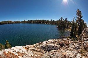 Picturesque transparent lake in park