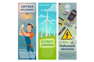 Electrician profession banners