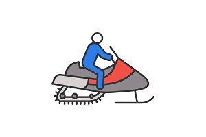 Man driving snowmobile color icon